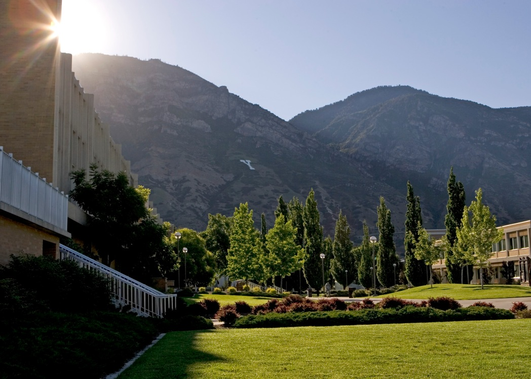 0506-27 018 GCS June Sunrise south of Harris Fine Arts Center, Brigham Square, Y -Mountain Brigham Young University Campus, Provo, Utah. 6/20/05 Photo by Jaren Wilkey/BYU Copyright BYU Photo 2005 All Rights Reserved photo@byu.edu (801)422-7322